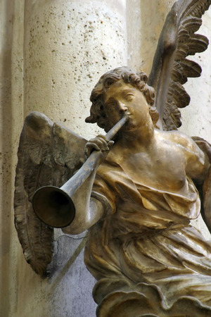 angel headstone: Angel musician