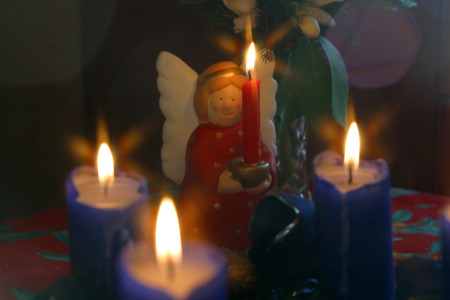 Advent wreath and angel photo