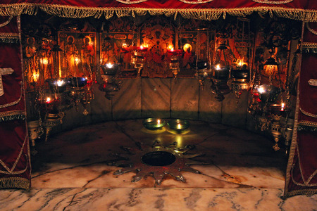 A silver star marks the traditional site of the birth of Jesus in a grotto underneath Bethlehem