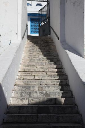 sidi bou said: Stairway in Sidi Bou Said, Tunisia Stock Photo