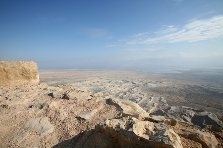 View on dead sea from Masada Israel photo