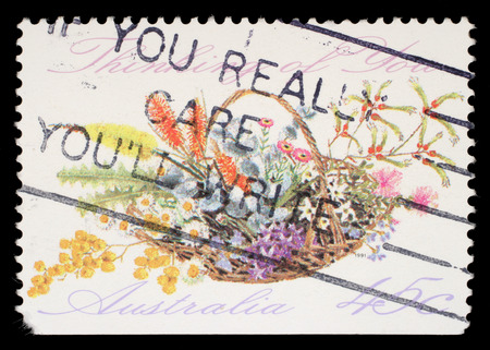 you are special: Stamp printed in AUSTRALIA shows the Bunch of flowers with the description Thinking of You, Special Occasions, circa 1990 Editorial