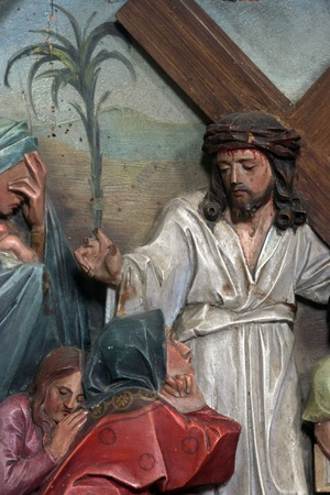 dolorosa: 8th Stations of the Cross, Jesus meets the daughters of Jerusalem Stock Photo