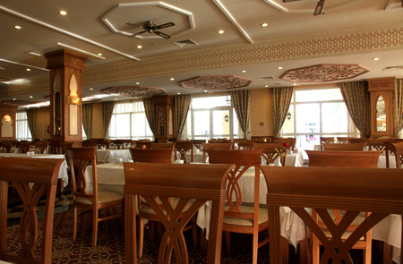 Interior decoration of the restaurant in deluxe hotel.