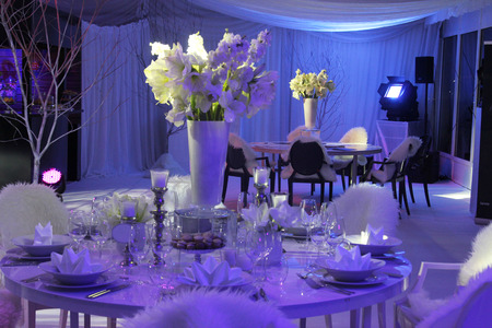 Beautiful table set for wedding Foto de archivo