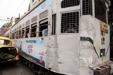 Traditional tram downtown Kolkata on February 15, 2014. Kolkata is the only Indian city with a tram network, which is operated by the Calcutta Tramways Comp.