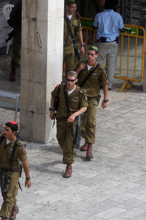 Members of the Israeli Border Police in the Old City October 03, 2006 in Jerusalem, Israel. They are deployed for law enforcement in the West Bank and Jerusalem.
