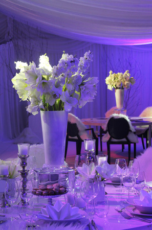 reception table: Beautiful table set for wedding Stock Photo