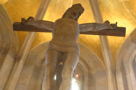homily: Jesus on the cross, Zagreb - St. Mark church Stock Photo