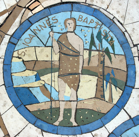 spirit: Saint John the Baptist, Mosaic in front of the church on the Mount of Beatitudes Editorial
