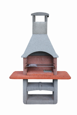 Outdoor fireplace  barbecue grill made from bricks and cement photo