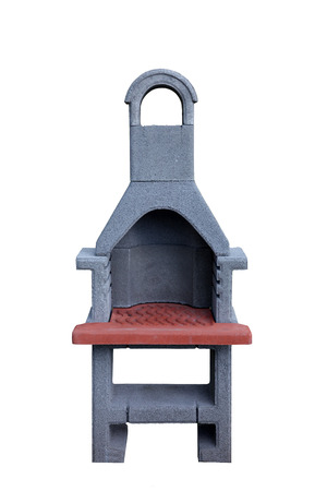 Outdoor fireplace or barbecue grill made from bricks and cement photo