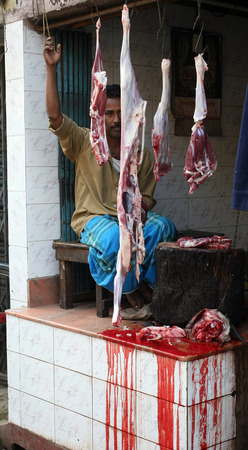 skinning: Butcher and his stall at the market in India where hygiene is very poor, Baruipur, West Bengal on January 13, 2009.