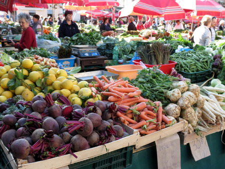 Colorful vegetable market in Zagreb Editorial