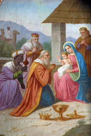 vierge marie: Scène de la Nativité, l'Adoration des Mages