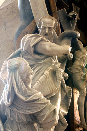 bible altar: Moses lifts up the brass serpent