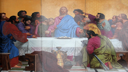 last supper: The Last Supper, painting on the facade, Saint Vincent de Paul church, Paris Editorial