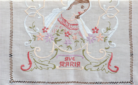 vestment: Ave Maria, embroidered Church vestments Stock Photo
