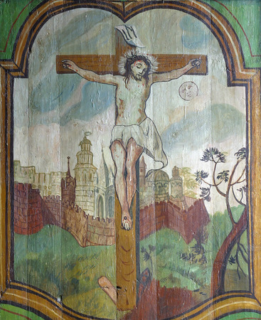 crucified: Jesus crucified on the cross