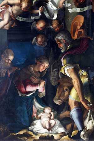 adoration: Unknown artist: Nativity, Adoration of the shepherds, exhibited at the Great Masters renesnse in Croatia, opened December 12, 2011. in Zagreb, Croatia Editorial
