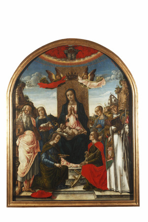 Bartolomeo Vivarini: Madonna and Child on the throne crowned by two angels, with God the Father, Saint Jerome, Agnes, Lucia, Catherine of Alexandria, Ursula, and Bernard of Clairvaux, exhibited at the Great Masters renesnse in Croatia, opened December 12,
