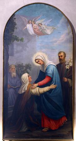 virgen maria: Visitación de la Virgen María Foto de archivo