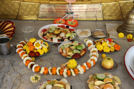 west bengal: Food for religious worship, Buddhist temple in Howrah, West Bengal, India Editorial