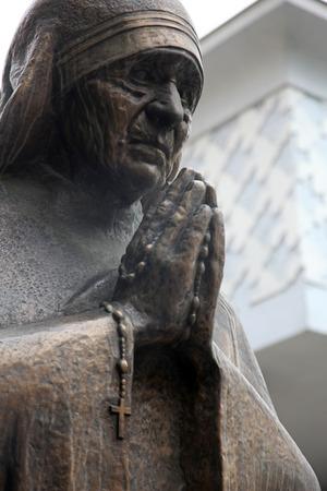 beatification: Mother Teresa monument in Skopje on May 16, 2013. Mother Teresa monument Humanitarian Worker and Nobel Prize Winner in Skopje, Macedonia.