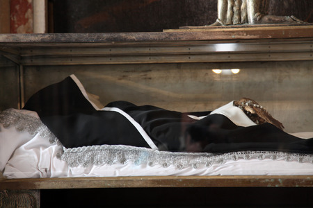patron of europe: Sarcophagus of Blessed Osanna of Cattaro, Church of St Mary in Kotor, Montenegro, on June 10, 2012