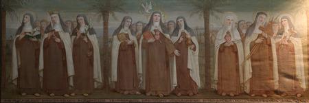 sainthood: Carmelite Saints, The Church Stella Maris, mountain Karmel, Haifa, Israel Editorial