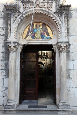 patron of europe: Ortodox church of St. Michael the Archangel in central Belavista Square, Herceg Novi, Montenegro, on June 07, 2012.