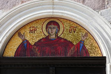 paternal: Virgin Mary - mosaic icon in Orthodox Christian church, on June 09, 2012 in Budva, Montenegro
