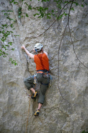 Climbing, rock wall in Paklenica national park Stock Photo - 35159176
