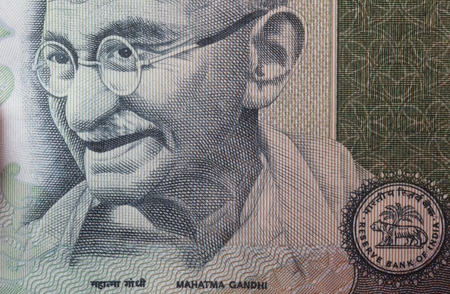 banknote uncirculated: Mahatma Gandhi on 100 rupees banknote