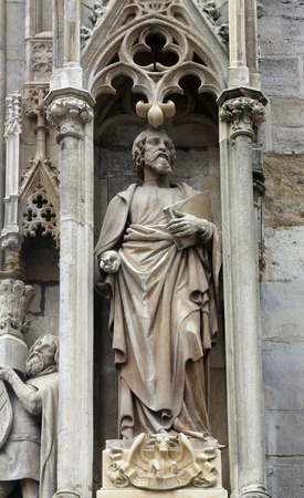 Luke: Saint Luke the Evangelist at St Stephens Cathedral in Vienna, Austria on October 10, 2014 Editorial