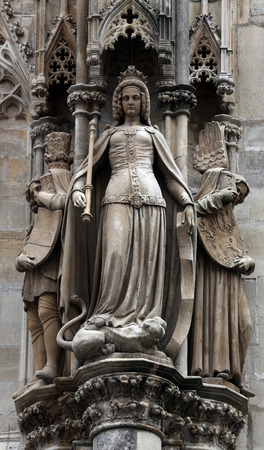 Statue of saint at St Stephans Cathedral in Vienna, Austria on October 10, 2014 photo