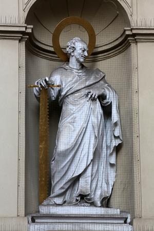 apostle: St. Simon the Apostle, Church of Saint Peter in Vienna, Austria on October 10, 2014.