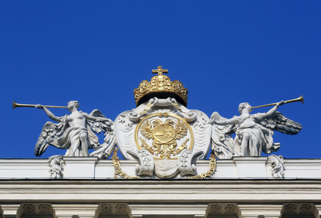 habsburg: Architectural artistic decorations on Hofburg palace, Vienna; Austria. Hofburg was residence of Habsburg dynasty, rulers of Austro-Hungarian Empire. Vienna, Austria on October 10, 2014.