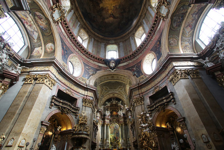 consecrated: Interior view of famous St Peters Church (Peterskirche) in Vienna. The famous baroque church was consecrated in 1733, Vienna, Austria on October 10, 2014.