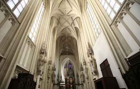 consecrated: Interior of Maria am Gestade church in Vienna. Famous gothic church was consecrated in 1414 and is one of oldest churches in Vienna, Austria on October 10, 2014.