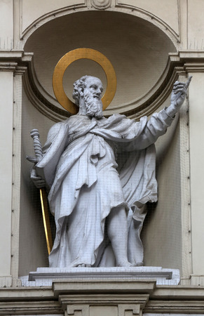 apostle paul: St. Paul the Apostle, Church of Saint Peter in Vienna, Austria on October 10, 2014. Stock Photo
