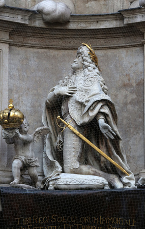 leopold: Statue of Emperor Leopold praying, Plague Monument in Vienna, Austria on October 10, 2014.