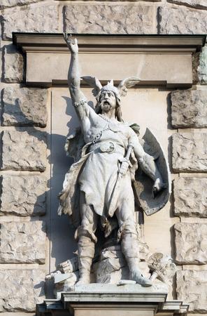 anton: Anton Brenek: Bajuware, on the facade of the Neuen Burg on Heldenplatz in Vienna, Austria on October 10, 2014.