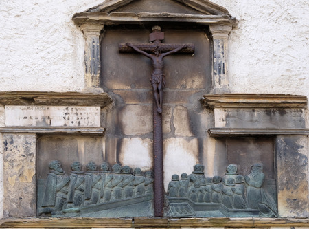 giles: Crucifixion on the Graz Cathedral dedicated to Saint Giles in Graz, Styria, Austria on January 10, 2015.