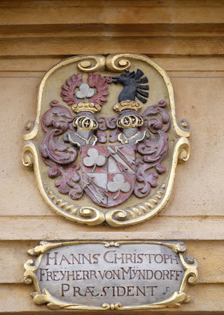 arsenal: Facade coat of arms on the portal of Arsenal (Zeughaus) historic center listed as World Heritage by UNESCO in Graz, Styria, Austria on January 10, 2015. Editorial