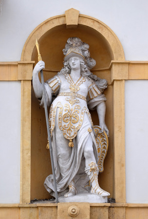 listed: Minerva, Roman goddess of wisdom and sponsor of arts, trade, and strategy, Arsenal (Zeughaus) historic center listed as World Heritage by UNESCO in Graz, Styria, Austria on January 10, 2015.