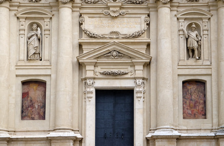 mausoleum: Portal of St. Catherine church and Mausoleum of Ferdinand II, Graz, Austria on January 10, 2015.