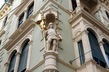 steiermark: Saint Florian at the corner of Jungferngasse and Herrengasse, Graz, Styria, Austria on January 10, 2015.