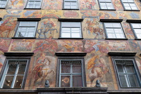 grazer: Baroque facade painting at the Grazer Herrengasse in Graz in Austria on January 10, 2015.