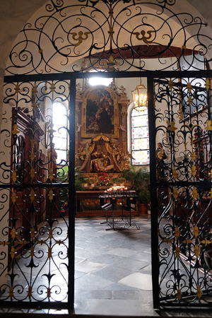 the church of our lady: Altar of Our Lady of Sorrows, Franciscan Church in Graz, Styria, Austria on January 10, 2015. Editorial